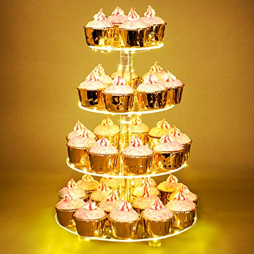 Weddingwish Cupcake Stand, 4-Tier Round Acrylic Cupcake Display Stand with LED String Lights Dessert Tower Pastry Stand for Birthday or Wedding Party (Yellow)