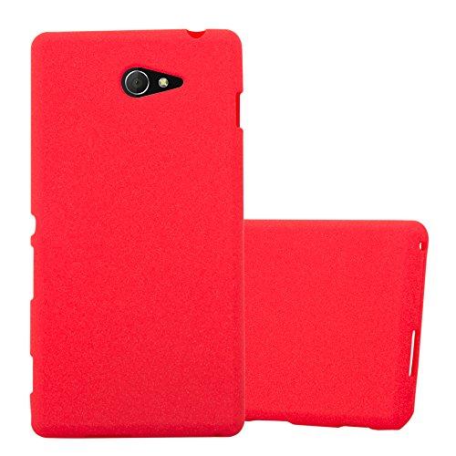 Cadorabo Hülle für Sony Xperia M2 / M2 Aqua in Frost ROT - Handyhülle aus flexiblem TPU Silikon - Silikonhülle Schutzhülle Ultra Slim Soft Back Cover Hülle Bumper