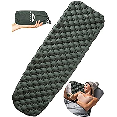 Chillax Ultralight Air Sleeping Pad – Inflatable Camping Mat for Backpacking, Traveling and Hiking – Super Comfortable Air Cell Design for Better Stability & Support –Plus Repair Kit (Green)