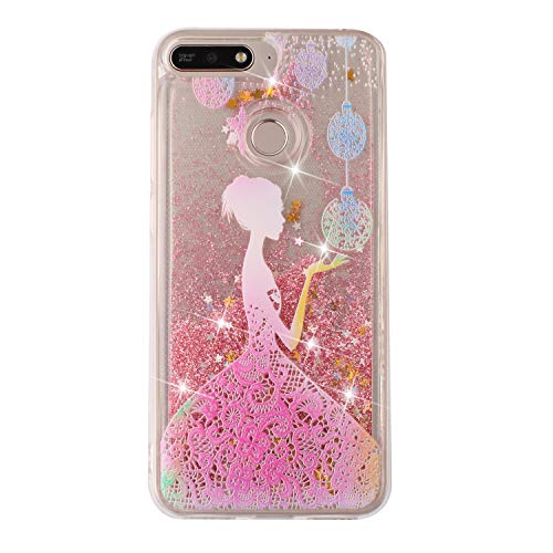 Everainy Coque Compatible pour Huawei Honor 7A/Y6 2018 Silicone 3D Paillettes Glitter Transparent avec Motif Souple Bumper Liquide Gel Etui Bling Antichoc Caoutchouc Cover (Fille)