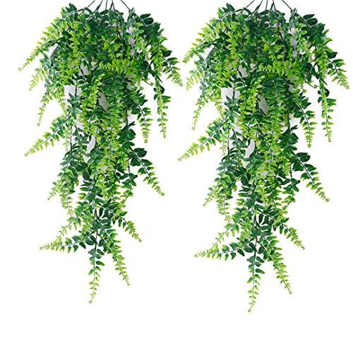 2 Stück Künstlich Hängepflanzen persischen Kletterpflanze Pflanzen Hängend Künstliche Grünpflanze Blätter Vine Kunstpflanzen für Innen Draussen Balkon Topf Hochzeit Garten Deko