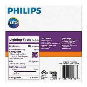 Philips LED Dimmable B11 Clear Candle Light Bulb: 300-Lumen, 2700-Kelvin, 4.5-Watt (40-Watt Equivalent), E12 Base, Soft White, 12-Pack