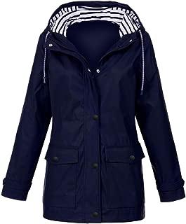 Women Rain Jacket, Outdoor Travel Jacket Plus Waterproof Hooded Raincoat Windproof Lightweight Coat Windbreaker