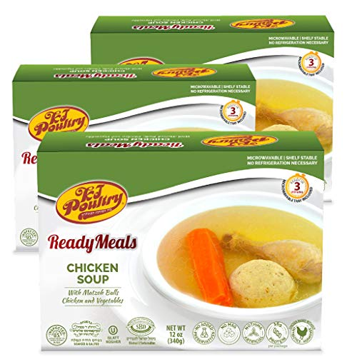 Kosher Matzah Ball Chicken Soup - NOT for PASSOVER - MRE Meat Meals Ready to Eat (3 Pack) - Prepared Entree Fully Cooked, Shelf Stable Microwave Dinner – Military, Camping, Emergency Survival Food