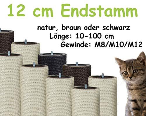 Kratzbaumland 12 cm Endstamm mit Stehbolzen, Ersatzstamm für Kratzbaum: Länge: 60 cm, Gewinde - 12 mm (M12), Farbe des Sisalseils - Natur