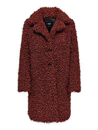 Only ONLCAMILLA Shearling Coat OTW Abrigo, Rojo (Burnt Henna Burnt Henna), L para Mujer