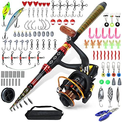 Carrete de pesca telescópico Equipo de pesca completo Kit de combinación con...