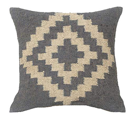 Almohadas hechas a mano Kilim, funda de cojín de yute de lana para exteriores e interiores, manta bohemia, fundas de almohada bohemias de 18 x 18, fundas de almohada vintage,