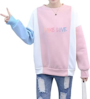 Women's Girls Kpop BTS Love Yourself 結 Answer Color Block Pullover Sweatshirt Sweater