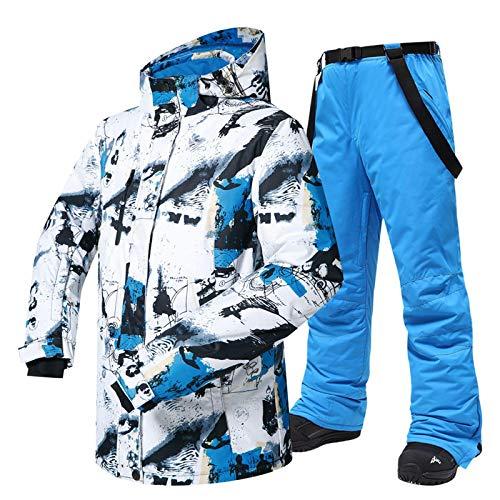 XHBYG Herren Camping Wandermantel, -30 Temperatur Skianzug, Herren Winter Outdoor Winddicht Wasserdicht Thermal Snow Jacke Und Hosen Ski Snowboard Jacke L BaiLanAndBLUE