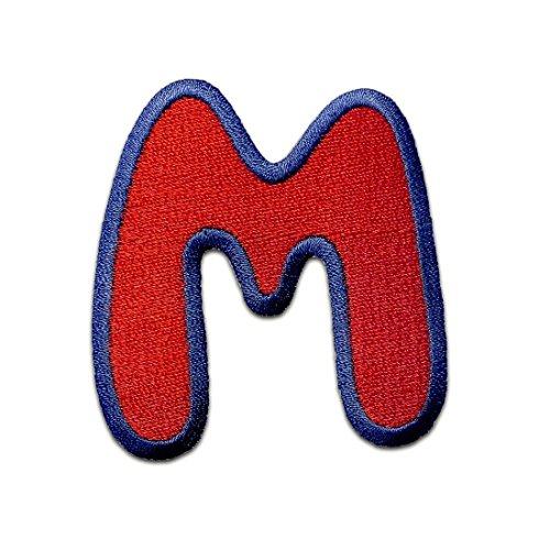 Buchstaben Aufnäher/Aufbügler Rot - Komplettes Alphabet einzeln auswählbar, Alphabet/Buchstabe:Buchstabe M - 6.3x5.9cm