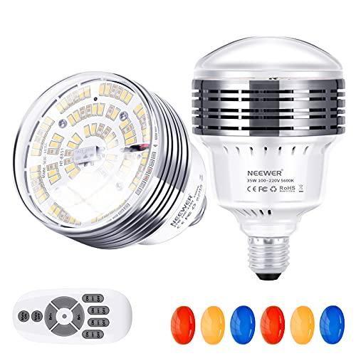 Neewer E27 Bombilla Luz, 2 Pack Bombillas LED de 35W 5500K con Control Remoto de 2,4G y Filtros de Color (Transparente/Rojo/Amarillo/Azul) para Fotografía Vídeo Iluminación Estudio