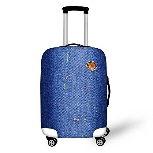 DingDing スーツケースカバー 伸縮素材 防水 旅行 かわいい 3D デニム風 猫柄 犬柄 S/M/Lサイズ ラゲッジカ...