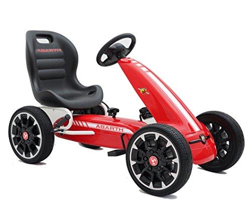 Ricco Kart a Pedales para niños, Oficial de Abarth, Ruedas de etilvinilacetato, Palanca de Freno, Engranaje de Embrague, Color Rojo