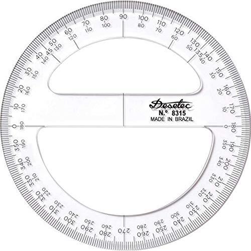 Transferidor Acrílico 360° 12 cm 8312, Trident, Incolor