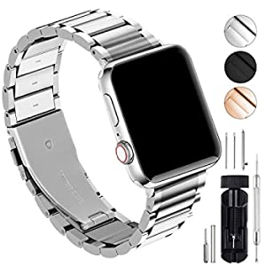 GerbGorb Cinturino Compatibile per Apple Watch, Cinturino in Acciaio Inossidabile per iWatch Serie 5/4/3/2/1, Watch band per iWatch,38mm Argento + Hardware Argento