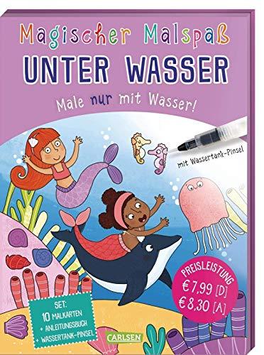 Magischer Malspaß: Unter Wasser: Male nur mit Wasser! Set mit Anleitungsheft, Wassertank-Pinsel und 10 Zauberkarten