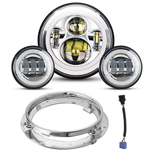 7 zoll Scheinwerfer,YEEGO Runde Scheinwerfer+2x4.5 Zoll Passing Lampen Nebelscheinwerfer für Motorrad mit Haltering und Kabeladapter (Silver Set)