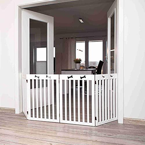 Trixie 39457 Hunde-Absperrgitter, MDF, 4-teilig, 60–160 × 75 cm, weiß