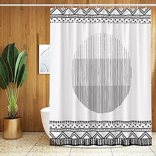 BTTN Boho Tassel Shower Curtains for Bathroom, Black and White Shower Curtain Heavy Duty Fabric, Boho Shower Curtains for Bathroom