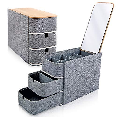 Jewelry Box Organizer Storage for Women. 3-Layer Herringbone Outer Fabric - Mirrored Bamboo Lid - Jewelry Storage for Women and Men.