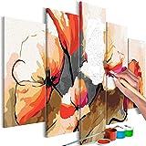 murando - Malen nach Zahlen Blumen 100x50 cm 5 TLG Malset mit Holzrahmen auf Leinwand für Erwachsene Kinder Gemälde Handgemalt Kit DIY Geschenk Dekoration n-A-0630-d-m