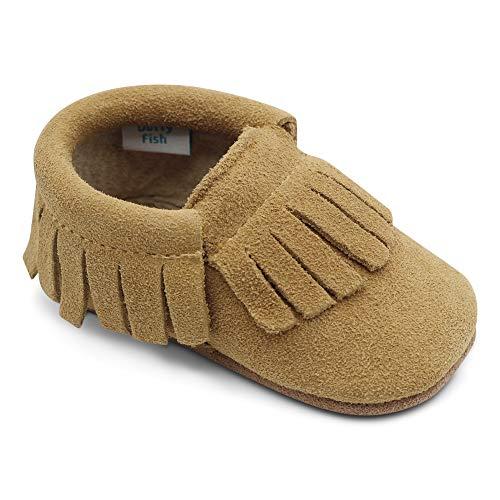 Dotty Fish Mokassins. Wildleder Babyschuhe mit weicher Sohle. rutschfest. Kinder Kleinkinder erste Schuhe. Jungen Mädchen. Hellbraun. 18-24 Monate (23 EU)