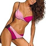 Bikini de dos piezas para mujer, traje de baño dividido con correa en V, ajuste de color, sexy y delgado, adecuado para bañadores de playa con fuentes calientes, rosa, large