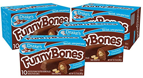 Drake's Funny Bones 40 Twin-Wrapped Peanut Creme-Filled Devils Food Cakes, butter, 54.92 Oz