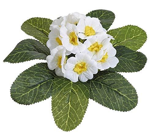 mucplants Primelbusch 20cm weiß Stecker künstliche Primeln Primeln Primula Schlüsselblumen Kunstpflanzen Kunstblumen