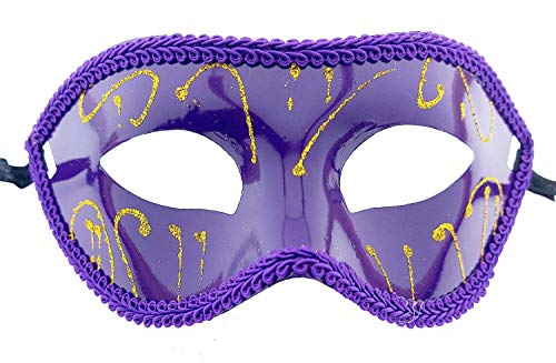 Lovelegis Máscara veneciana – Color morado con adornos dorados – rígida – Glitter – Tela – Disfraz – Carnaval – Halloween – Cosplay – Accesorios – Hombre – Mujer