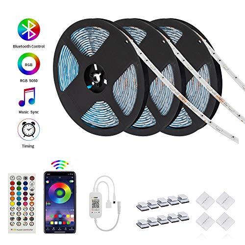 shshuiyue LED Streifen 15m, RGB 5050 IP65 Wasserdicht LED Strips mit Fernbedienung für Party Geburtstag Bar Weihnachten Deko (3x5m)