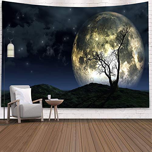 WERT Tapiz de Calavera Mandala Tapiz Luna Sol Blanco Tapiz Negro Tapiz Hippie Decoración de Dormitorio Tapiz psicodélico A21 180x200cm
