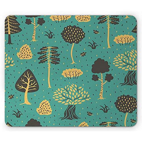 Botanische Mausunterlage, Gekritzel-Art-Bäume und Blätter Forest Elements Drawn eigenhändig, Cadet Blue Sand Brown