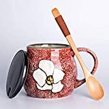 In stile giapponese Tea Set tazze da tè in ceramica Tazza Tazza con coperchio cucchiaio tazza di caffè Tazza colazione grande capacità tazza di tè 450ml (Color : Red)