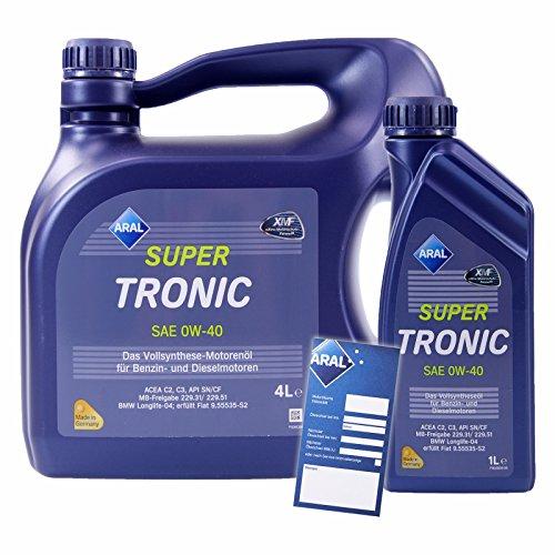 1 L + 4 L = 5 Liter ARAL SuperTronic 0W-40 Motoröl inkl. Ölwechselanhänger