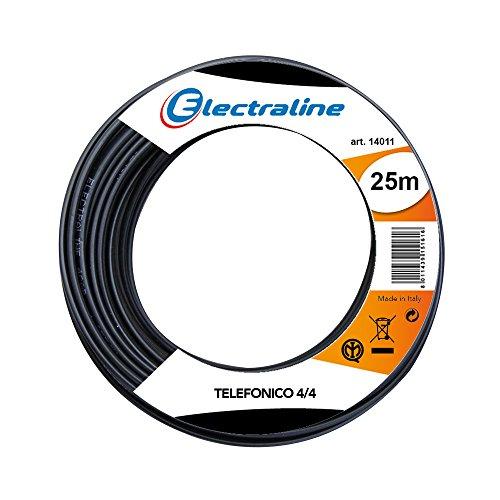 Electraline 14011 Cavo Telefonico Piatto 4/4, Lunghezza 25 m, Nero