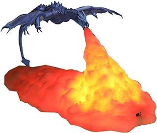 AEUWIER Lámpara LED de luz nocturna, lámparas de dragón de fuego LED impresas en 3D creativas, decoración de iluminación nocturna de dragón que escupe fuego con USB recargable