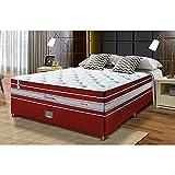 Conjunto Cama Box Casal de Molas Ensacadas Cama Inbox Select Euro Soft 138x188x71 Vermelho