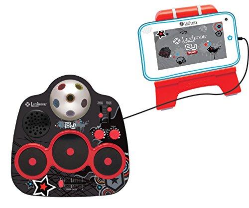 Lexibook MFG120 - Tavola da Mixaggio per Tablet Connect DJ, Applicazione, Supporto, Effetti mucisali Diversi, Nero Rosso