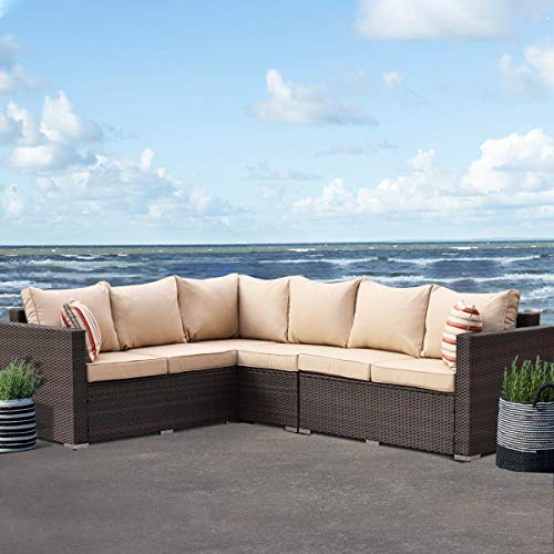 Patio Furniture Garden 5 PCS Sectional Sofa Brown Wicker Conversation Set Outdoor Indoor Use Couch Set Khaki Cushion