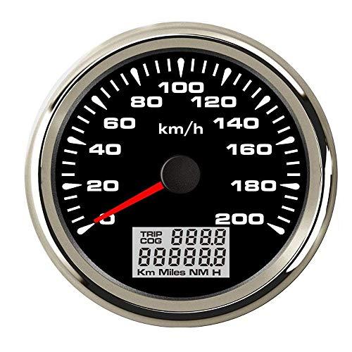 Odometer Spur Wasserdicht 85mm Digital-GPS-Geschwindigkeitsmesser Messgerät 120 km/h 200 km/h-Entfernungsmesser for Auto-Marine-LKW ZHQHYQHHX (Color : Black Silver 200kmh, Size : Kostenlos)