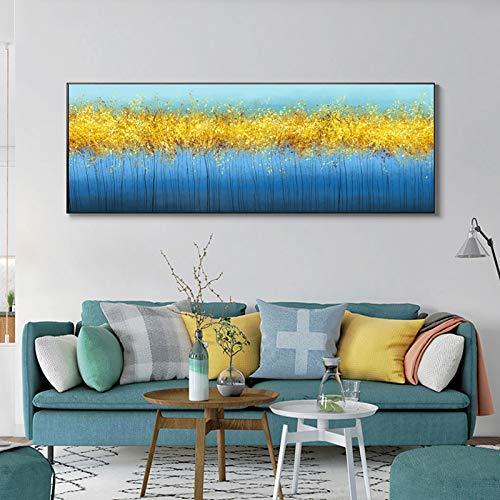 KWzEQ Goldbaum auf Leinwand abstrakte Ölgemälde Poster Wandbild Wohnzimmer Leinwand Türkis Dekoration,Rahmenlose Malerei,75x225cm