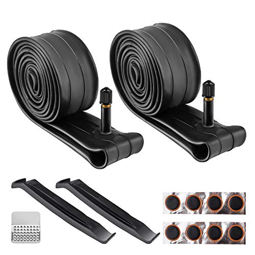 Wrdlosy 2PCS 26 inch Bike Tube, 26x1.75/26x1.90/26x1.95/26x2/26x2.10/26x2.125 Butyl Rubber Bicycle Tube with 2 tire tie rods and 8 tire Patches, Easy to Install