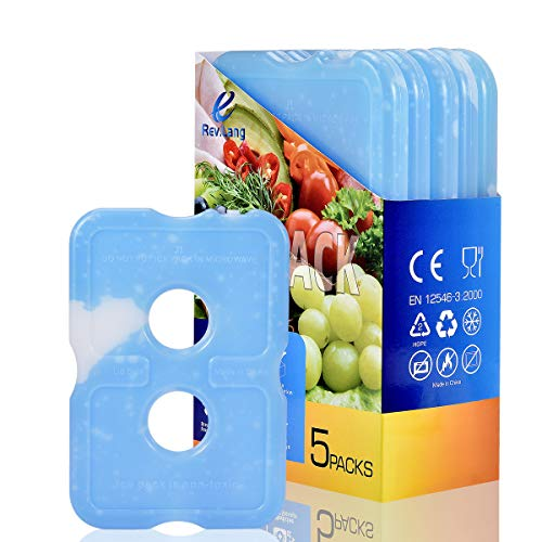 Cold Ice Pack Brick Reusable Long Lasting Cool Slim Thin Freezer Pack Cooler for Lunch Boxes Bag Canned Soda Beer Camping(200g,Set of 5)