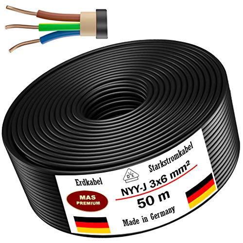 Erdkabel Stromkabel 5m, 10m, 20m, 25m, 30m, 50m oder 70m NYY-J 3x6 mm² Elektrokabel Ring zur Verlegung im Freien, Erdreich (50m)