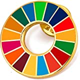 国連本部限定販売 SDGs バッジ SDGs ピンバッジ 最新仕様 SDGs 国連 ピンバッチ 七宝焼 ゴールデン sdgs バッヂ ピンバッジの留め具 4個付