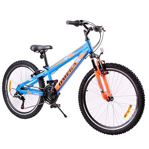 Bicicletta MTB Bambini di Anni 10 11 12 13 14 15 Bici da Giochi Bambino Bambina Mountain Bike Omega Gerald Pollici 24 Pedali Freni Regalo Giocattoli Bimba Bimbo Biciclette Gioco Chicco (Blu)