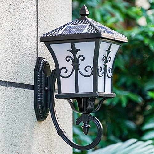 miwaimao Lámpara de pared solar impermeable, estilo retro, resistente al agua, IP65, con mando a distancia, interruptor E27, lámpara de jardín, puerta, terraza, casa, iluminación de pared