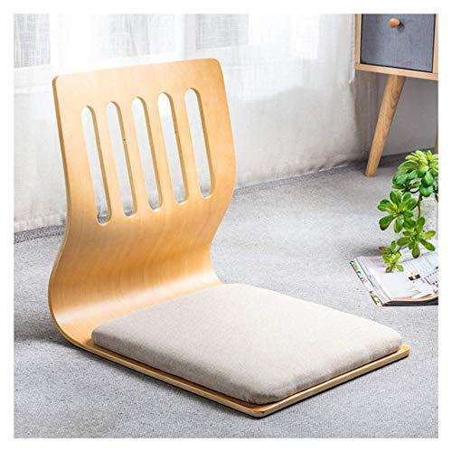 KSWD Japanisch Beinlos Bodenstuhl Mit Rückenlehne Bequem Holzstuhl Tatami-Meditation Lazy Chair Cushion 220 Lbs Load-42x36x46cm A